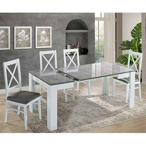 Idea Extending White And Grey Gloss Dining Table 6 D...