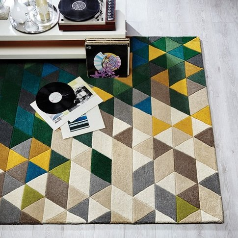 Illusion Prism Green Rug