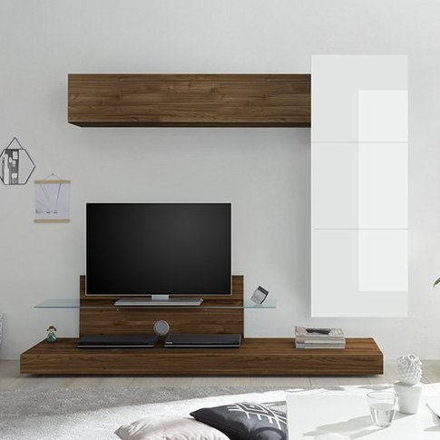 Infra Tv Stand And Glass Shelf In White Gloss And Da...