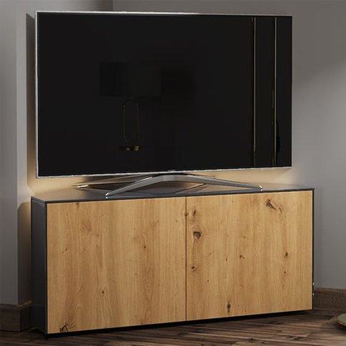Intel Corner Led Tv Stand In Grey Gloss And Oak