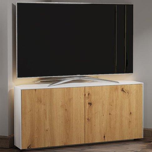 Intel Corner Led Tv Stand In White Gloss And Oak