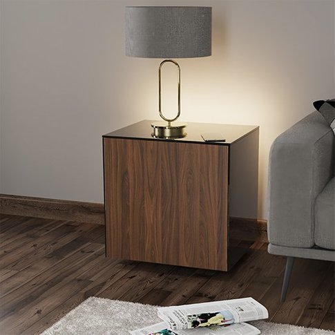 Intel Led Lamp Table In Black And Walnut With Wirele...