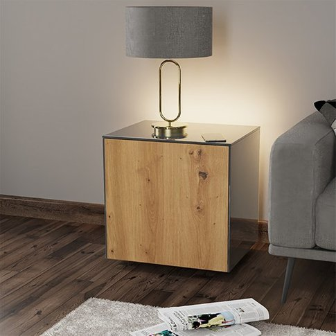 Intel Led Lamp Table In Grey And Oak With Wireless C...