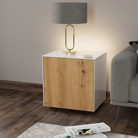 Intel Led Lamp Table In White And Oak With Wireless ...