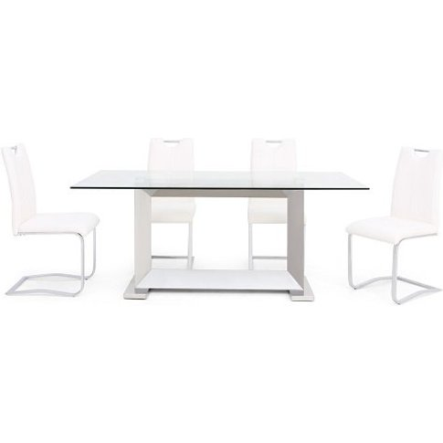 Invictus Glass Dining Table In Clear With 6 Caleb Wh...