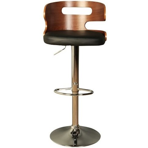 Issac Wooden Bar Stool In Black Faux Leather With Chrome Base