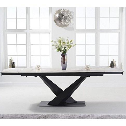 Jackson Ceramic Extending Dining Table In White