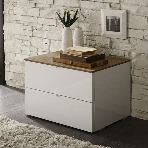 Jaxon Bedside Cabinet In Glossy White Lacquer And Ho...