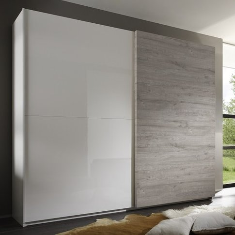 Jaxon 280x210 Sliding Wardrobe In Glossy White And Grey