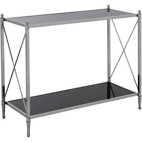 Jefferson Mirrored Console Table In Black And Silver Frame