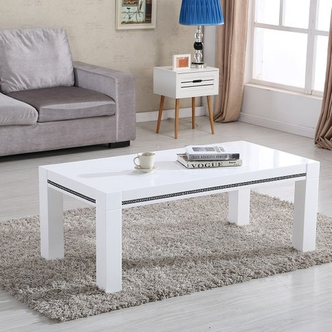 Diamante Coffee Table In White High Gloss With Rhine...