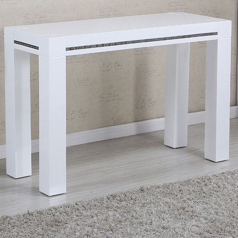 Diamante Console Table In White High Gloss With Rhin...