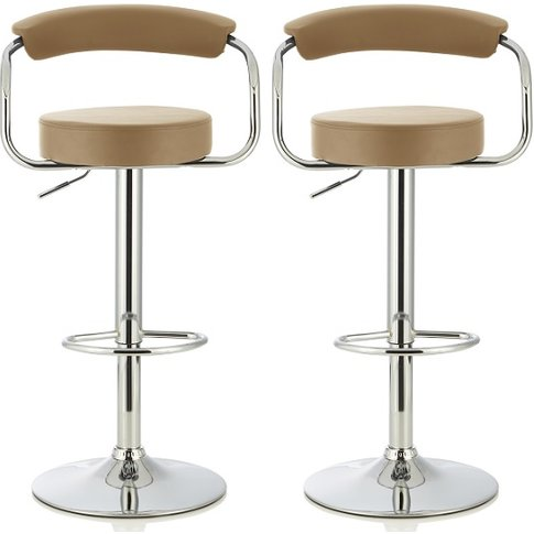 Jerome Modern Bar Stool In Taupe Faux Leather In A Pair