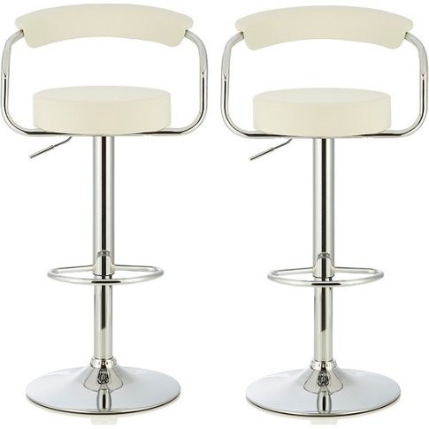 Jerome Modern Bar Stool In White Faux Leather In A Pair