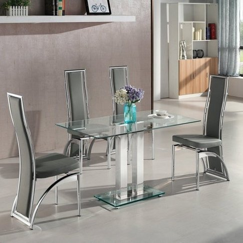 Jet Small Clear Glass Dining Table With 4 Chicago Gr...