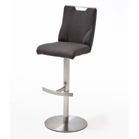 Jiulia Leather Bar Stool In Anthracite With Steel Base