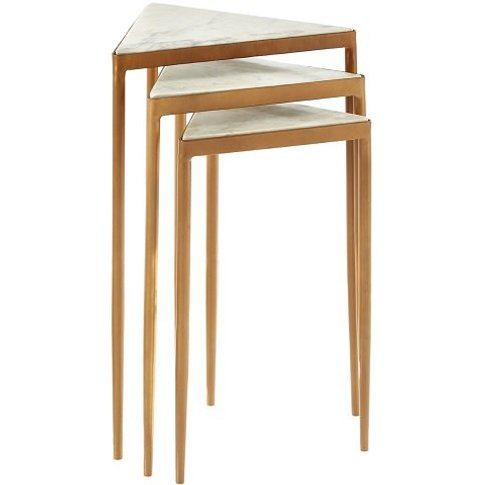 Jolene Marble Nesting Tables In White With Gold Fini...