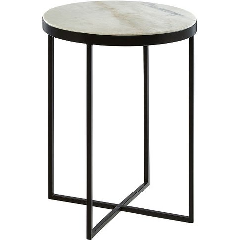 Jolene Marble Side Table Round In White With Black Cross Base