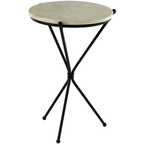 Jolene Marble Side Table Round In White With Black T...