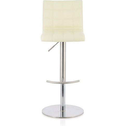 Jorden Bar Stool In Cream Faux Leather And Stainless...