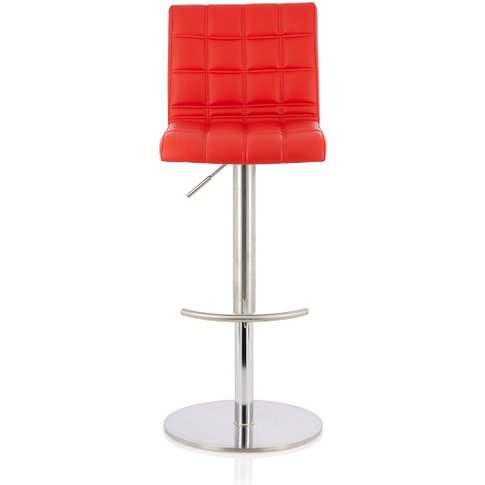 Jorden Bar Stool In Red Faux Leather And Stainless S...