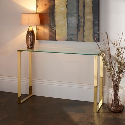 Joyce Console Table Rectangular In Clear Glass With ...