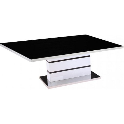 Jupiter High Gloss Coffee Table In White With Black ...