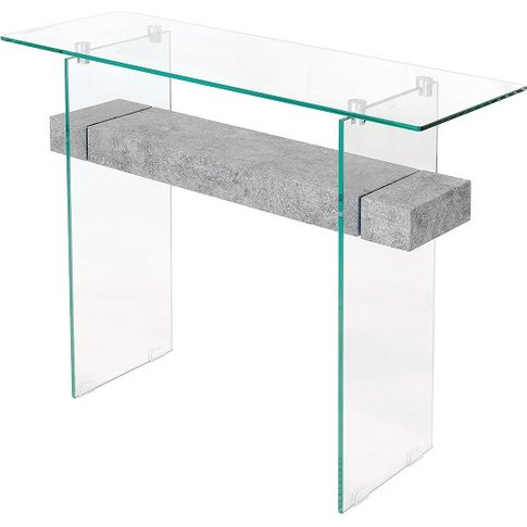Juvenile Glass Console Table In Clear With Concrete ...