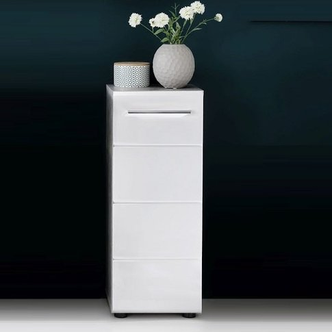 Karla Bathroom Storage Cabinet In Stone Grey White H...