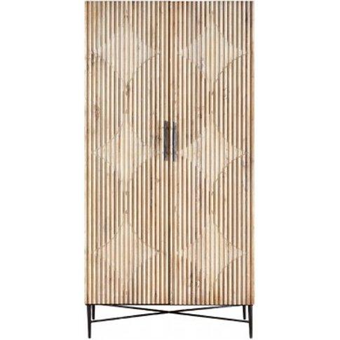 Karot Wooden 2 Doors Wardrobe In Light Grey