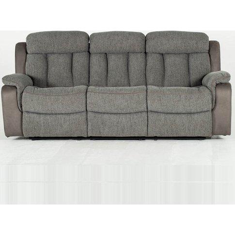 Karr Three Seater Recliner Fabric Sofa In Grey