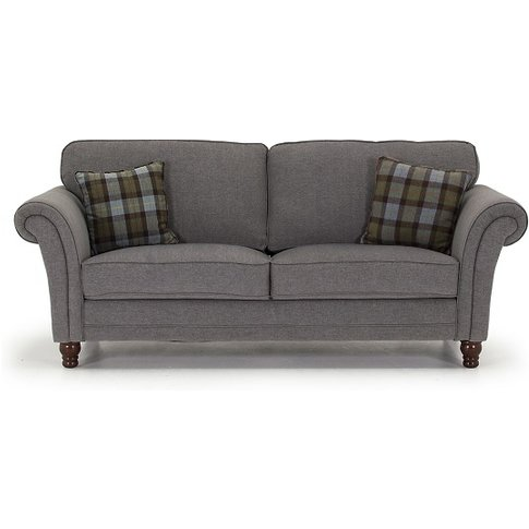 Kathryn Fabric 3 Seater Sofa In Grey With Wooden Legs