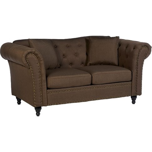 Kelly Chesterfield 2 Seater Sofa In Natural With Woo...