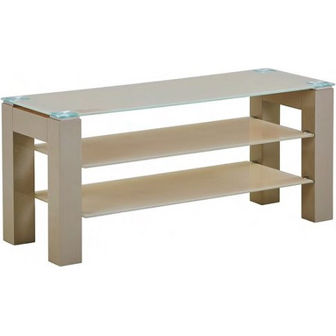 Kelson Standard Glass TV Stand In Latte With Wooden ...