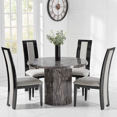 Kempton Marble Dining Table Round In Grey And 4 Alli...
