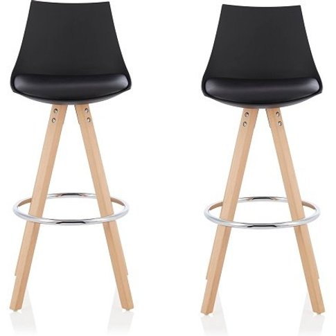 Kenzie Bar Stools In Black Faux Leather Seat Pad In ...