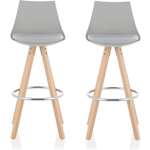 Kenzie Bar Stools In Grey Faux Leather Seat Pad In A...