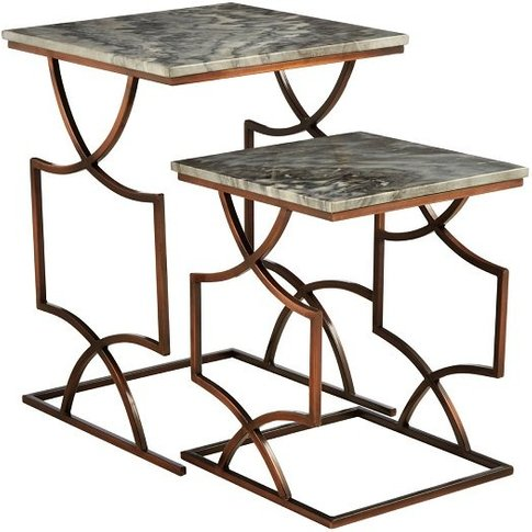 Kerfoot Dark Grey Marble Nest Of Tables With Bronze ...