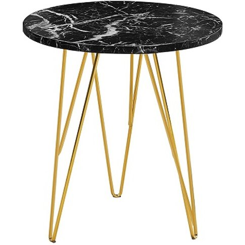 Kerlin Round Lamp Table In Black Marble Effect With ...