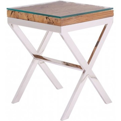 Kero Glass Top Side Table In Natural With Cross Base