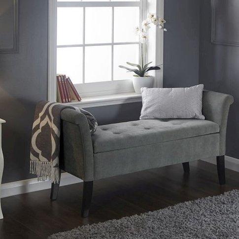 Keswick Ottoman Seat In Grey Chenille Fabric With Da...