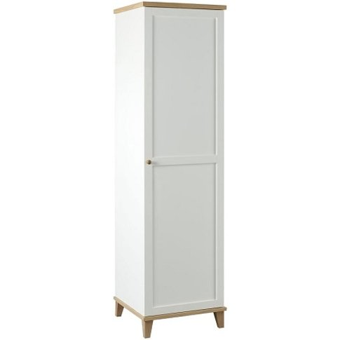 Kieta Wooden Wardrobe In White With 1 Door