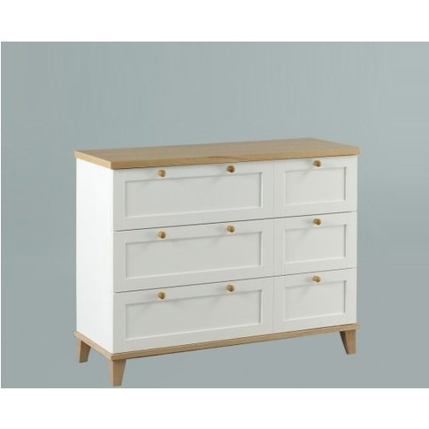 Kieta Wooden Chest Of Drawers Wide In White With 6 D...