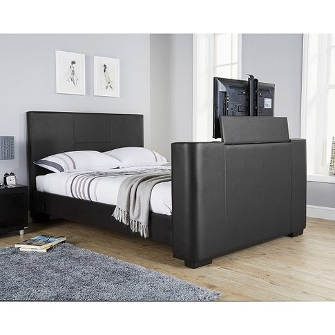 Knightsbridge Modern King Size Tv Bed In Black Faux Leather