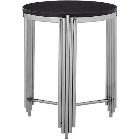 Knudson Round Granite Side Table With Stainless Stee...