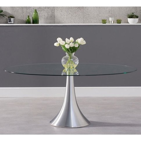 Koit Oval Glass Dining Table With Aluminium Pedestal