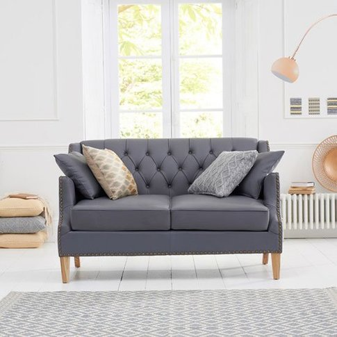 Kosmo 2 Seater Sofa In Grey Leather With Natural Ash...