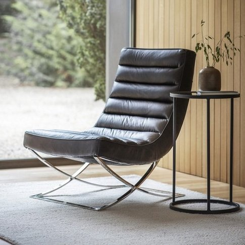 Kramer Leather Lounge Chair In Black With Metal Frame