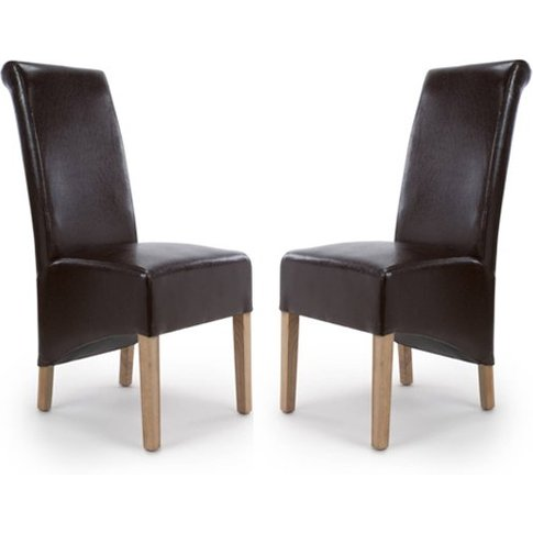 Krista Roll Back Bonded Leather Brown Dining Chairs ...