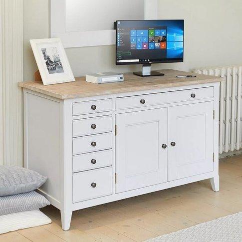 Krista Wooden Computer Desk In Grey With 2 Doors And...